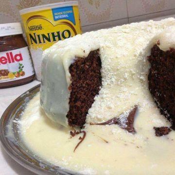 Bolo vulcão com leite ninho e Nutella